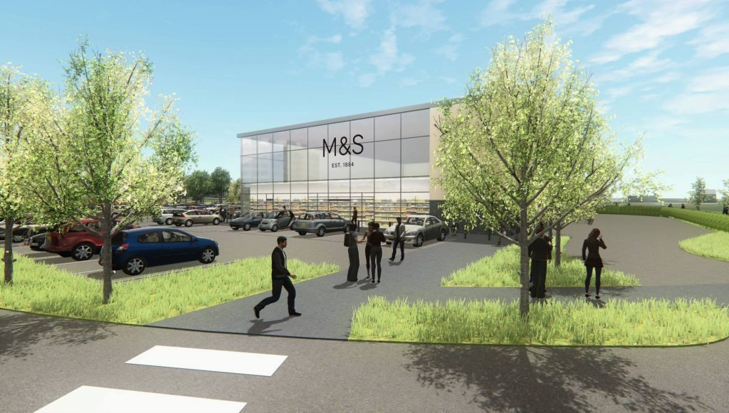 Artist impression of Marks and Spencers store on the new Stane Park development.