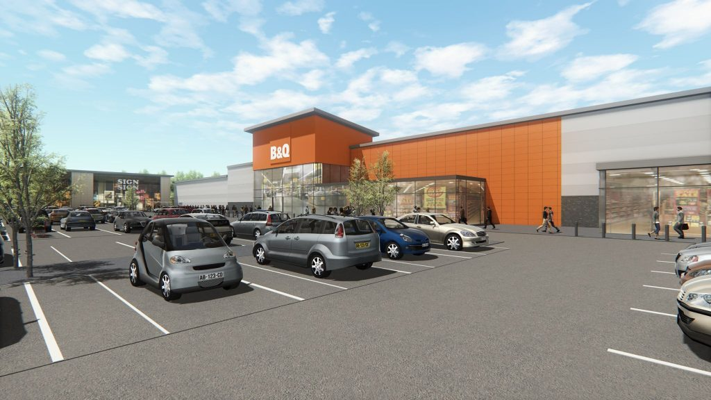 Artist impression of B&Q store on the new Stane Park development.